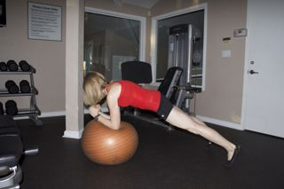 Standard Plank on Stability Ball - a progression from performing this exercise on a mat.